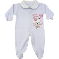 Macacão Bebê Barato Menina em Suedine Branco - Goiabada :: 764 Kids | Roupa bebê e infantil