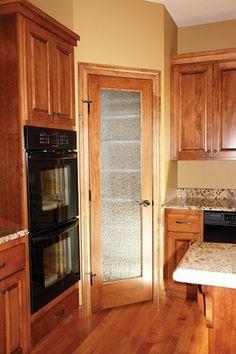 Interior Doors   french pantry door with rain glass   Bayer Built Woodworks