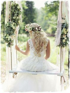 sposa come un angelo su altalena