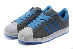 Adidas Superstar Shoes Blue Grey White