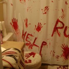 Scary Halloween Bathroom Decor; Can't wait til I can host my own Halloween party and do this in the bathroom! Lol