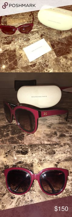 **Authentic** Balenciaga Havana Sunglasses Made in Italy. Burgundy Balenciaga shades with tortoise shell inlay. Barely worn kept in case (No wear and tear). Comes with Case and Authenticity certificate card. [BAL0106/s] Accessories Sunglasses