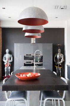 grey pendants + cabinet