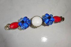 Hair Barrette Vintage Jewelry Handmade Red White Blue Coro