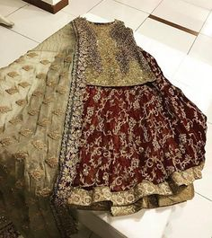 Sham pine gold and maroon lahnga set with dabka nagh and naqshee work Model 19 Pakistani Fashion Casual, Pakistani Wedding Outfits, Pakistani Bridal Dresses, Indian Bridal Wear, Pakistani Dress Design, Bridal Outfits, Pakistani Mehndi Dress, Wedding Lehnga, Asian Fashion