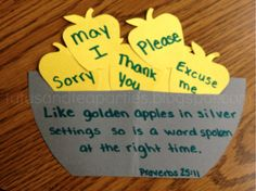 "Scripture: ""Like golden apples in silver settings so is a word spoken at the right time."" ~Proverbs 25:11"