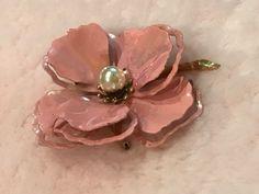 CORO Signed BIG Pink Vintage Iridescent Flower Brooch Pin | eBay