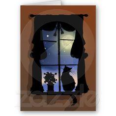 Cat in Window Vintage Silhouette Pet Sympathy Card
