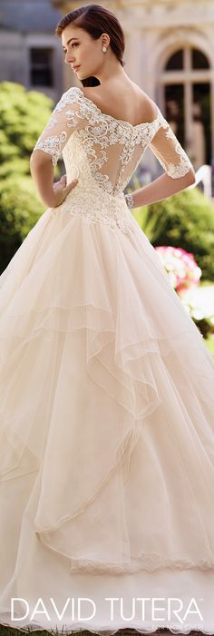 David Tutera for Mon Cheri Spring 2017 Collection - Style No. 117292 Aurelia - off-the-shoulder tulle over organza ball gown wedding dress with illusion scalloped lace three-quarter length sleeves
