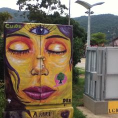 Street art in #Lagoa, #Floripa, Brasil. Idea para decorar la horribles cajas telefónicas de Telmex
