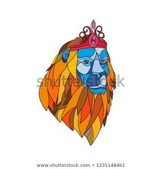 Mosaic low polygon style illustration of a lion with big mane wearing a tiara crown viewed from front on isolated white background in color. Polygon Art, Tiaras And Crowns, Wildlife Art, Modern Graphic Design, New Pictures, Mosaic, Lion, Royalty Free Stock Photos, Illustration