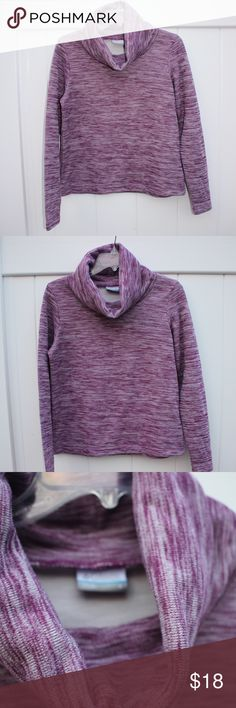 """[Columbia] Cowl Neck Sweater Excellent condition sweater by Columbia. Pullover cowl neck sweater. Can be used for layering or worn alone. Medium-thick weight, perfect for chillier evenings. Pink-purple color. From top of shoulder to bottom is approx 22""""  60% cotton 30% nylon 10% wool Columbia Sweaters Cowl & Turtlenecks"""