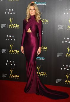 Delta Goodrem in Magenta - another awesome Michael Costello look! #deltagoodrem #michaelcostello #redcarpet