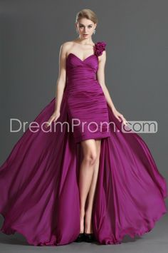 Gorgeous Floor-Length One Shoulder Watteau Train Prom/Evening Dresses