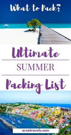 What should I pack for a summer trip? Things to take for a summer vacation. Packing list for summer holidays.