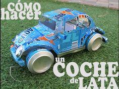 Como se hace una maqueta de coche con latas  Trabajo de colegio