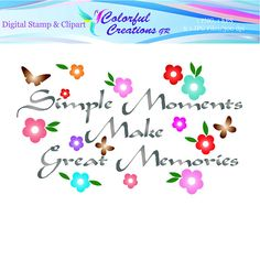 Simple Moments Digital Stamp For Personal And Commercial Use Great Memories, Digital Stamps, Commercial, Banner, Clip Art, Butterfly, Romantic, Scrapbook, Inspirational