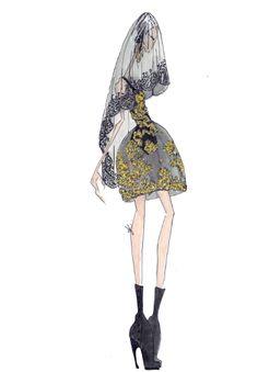 Fashion illustration - baroque fashion design // J.Larkowsky, Dolce & Gabbana
