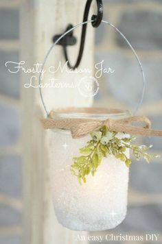 FROSTY MASON JAR LANTERNS-so sweet and easy to make-perfect for Christmas-stonegableblog.com