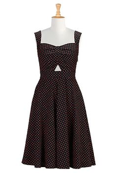 Polka dot cutout cotton dress