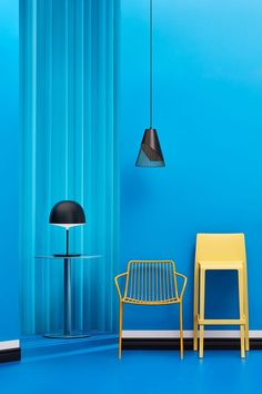 Beautiful modern interior design in blue color and minimal furniture in Scandinavian design. Concept & design was done by Mathieu Levesque & Camille Boyer from Quebec, Canada.
