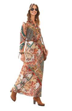 Rochie lunga cu imprimeu