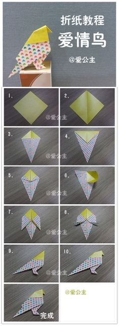 easy origami - bird #origami #DIY                                                                                                                                                     More