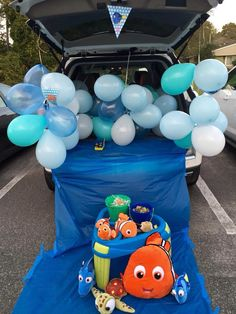 """Halloween """"trunk or treat""""!  Finding Nemo - so easy, and the kids went crazy over the bubble machine!"""