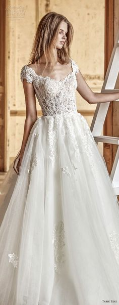 tarik ediz 2017 bridal cap sleeves scoop neckline heavily embellished bodice romantic a line wedding dress (10) lv -- Tarik Ediz White 2017 Wedding Dresses