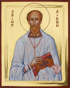 Saint Aidan of Lindisfarne - Aidan Hart Sacred Icons Religious Images, Religious Art, St Aidans, Celtic Christianity, Greek Icons, Lives Of The Saints, St Cuthbert, Paint Icon, Book Of Kells