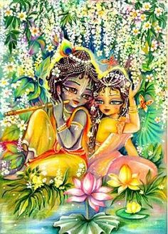 Radha & Krishna- love the background art