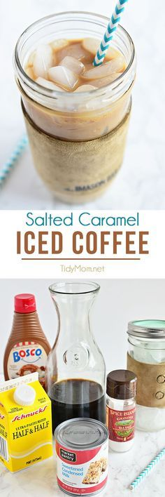 Salted Caramel Iced Coffee at home is so easy!  Way cheaper than the coffee shop and every bit as delicious! Sweetened condensed milk is the secret to iced coffee nirvana. recipe at TidyMom.net
