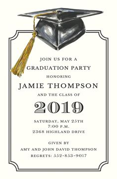 Simple Script Graduation Invite  Custom Cards  Grad Announcement  4255