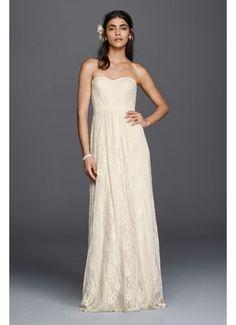 Galina Strapless Linear Lace Sheath Wedding Dress WG3782