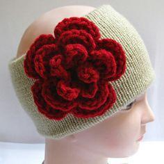 Knitted Headband Ear Warmer with Red Crochet Flower