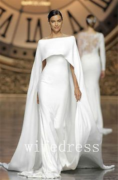 """Verona"" crepe dress with off-the-shoulder neckline and cape by Atelier Pronovias. Photography: Courtesy of Atelier Pronovias. Muslim Wedding Dresses, Wedding Dress Trends, Gorgeous Wedding Dress, Wedding Attire, Bridal Dresses, Wedding Dress Cape, Wedding Hijab, Wedding Ideas, Cape Gown"