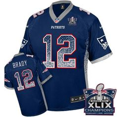 cee8bff1c Nike Patriots  12 Tom Brady Navy Blue Team Color Super Bowl XLIX Champions  Patch Youth Stitched NFL Elite Drift Fashion Jersey