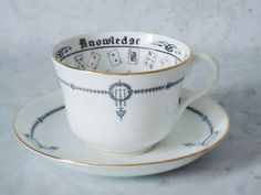Vintage Halloween Fortune Telling Tea Cup and Saucer Set - Rare Jackson Gosling Teacup and Saucer Set - Cup of Knowledge.