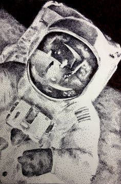 Astronaut stippling, pen & ink 2012 Alyse D.