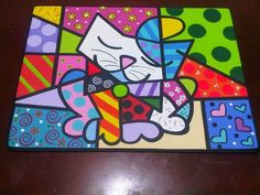 Country madera Painting britto cat