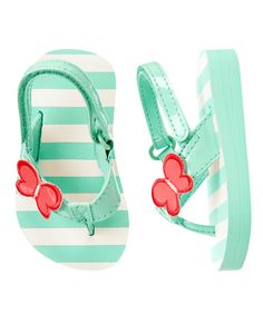Toddler Girls Sweet Mint Stripe Butterfly Striped Flip Flops by Gymboree.  Summer Shoes for Kids