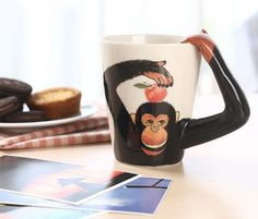 Hand Drawn Gorilla Shaped Coffee Mug