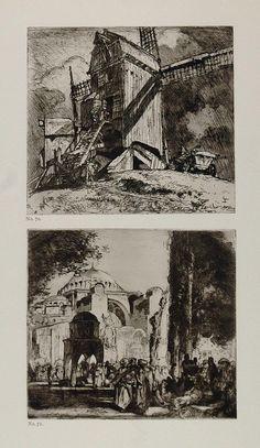 1912 Print Windmill Bruges Santa Sophia Frank Brangwyn - ORIGINAL FB1