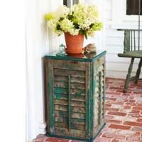 DIY Shutter Side Table by goodhousekeeping #Table #Shutters #DIY #goodhousekeeping