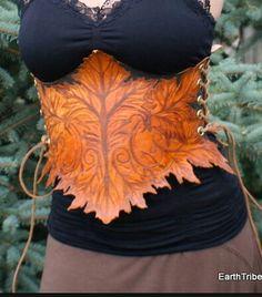 Leather leaf corset