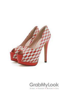GrabMyLook Geometric Chessboard Checkers Platforms Open Toe High Heels Stiletto Shoes