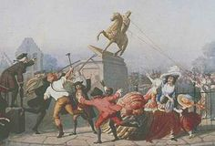 sons of liberty pulling down the statue of george iii, to make bullets for the war
