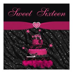 Sweet 16 Trendy Pink Cake & Zebra Stripes Custom Announcement