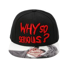 DC Comics The Dark Knight Why So Serious Snapback Hat | Hot Topic ($19) ❤ liked on Polyvore