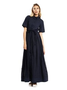 Tara Jarmon - Robe chemise longue découpe laser